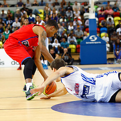 GB men vs Puerto Rico basketball at the Copper Box Arena. Devon van Oostrum (06) tries to steal the ball. 11/08/2013 (c) MATT BRISTOW