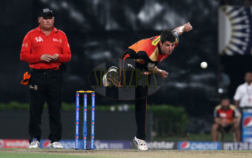 Sunrisers Hyderabad player Moises Henriques bowls during match 38 of the Pepsi IPL 2015 (Indian Premier League) between The Kolkata Knight Riders and The Sunrisers Hyderabad held at Eden Gardens Stadium in Kolkata, India on the 4th May 2015.<br /> <br /> Photo by:  Vipin Pawar / SPORTZPICS / IPL
