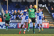 Scunthorpe United Murray Wallace (5) controls the ball with his chest during the EFL Sky Bet League 1 match between Bristol Rovers and Scunthorpe United at the Memorial Stadium, Bristol, England on 24 February 2018. Picture by Gary Learmonth.