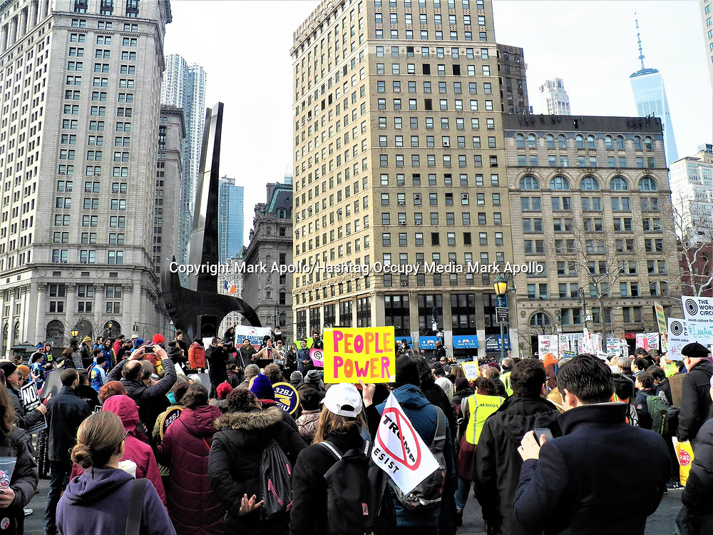 February 10th 2018-You Can&rsquo;t Deport a Movement<br /> Foley Square New York, NY. USA<br /> <br /> Around 300 people from Faith, immigration and community groups took part in a rally and march today.  With the rally being held in g Foley Square, then a symbolic march 2 times around the Federal Building were ravi Ragbir was suppose to report today.   <br /> The rally was followed by the group march though the streets on the Westside up to Judson Memorial Church. February 10th 2018-You Can&rsquo;t Deport a Movement<br />