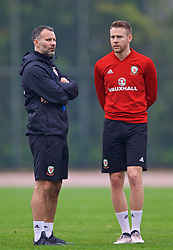 NANNING, CHINA - Saturday, March 24, 2018: Wales' new manager Ryan Giggs and Chris Gunter during a training session at the Guangxi Sports Centre ahead of the 2018 Gree China Cup International Football Championship final match against Uruguay. (Pic by David Rawcliffe/Propaganda)