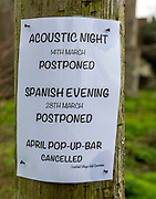 Notice social events cancelled community impacts of coronavirus isolation on small village, Cratfield, Suffolk, England, UK 17 March 2020