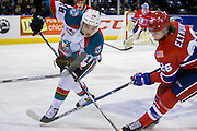 KELOWNA, CANADA - FEBRUARY 17:  Carsen Twarynski #18 of the Kelowna Rockets & Hudson Elynuik #26 of the Spokane Chiefs at the Kelowna Rockets game on February 17, 2017 at Prospera Place in Kelowna, British Columbia, Canada.  (Photo By Cindy Rogers/Nyasa Photography,  *** Local Caption ***