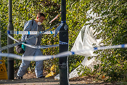 © Licensed to London News Pictures. 16/09/2020. London, UK. Police forensics at the scene in Mitcham where a body of a man was found on the common. A body of man who was apparently found alight has been found near Commonside East on Mitcham Common in South West London. Photo credit: Alex Lentati/LNP