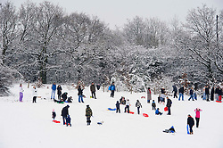 © Licensed to London News Pictures. 05/01/2011 London, UK. As the overnight snowfall settles, residents in NW London enjoy the late winter weather sledging in Mill Hill Park..Photo credit : Simon Jacobs/LNP