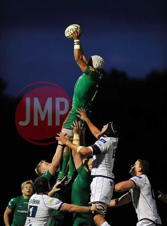 Dan Leo (London Irish) rises high to win lineout ball - Photo mandatory by-line: Patrick Khachfe/JMP - Mobile: 07966 386802 22/08/2014 - SPORT - RUGBY UNION - Middlesex - Hazelwood - London Irish v Bristol Rugby - Pre-Season Friendly
