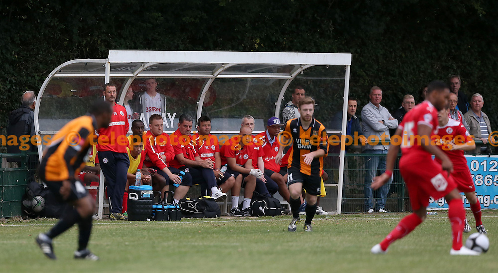 Crawley&rsquo;s Manager John Gregory watches the pre season friendly between Three Bridges and Crawley Town at Jubilee Field in Crawley. July 28, 2014.<br /> James Boardman TELEPHOTO IMAGES
