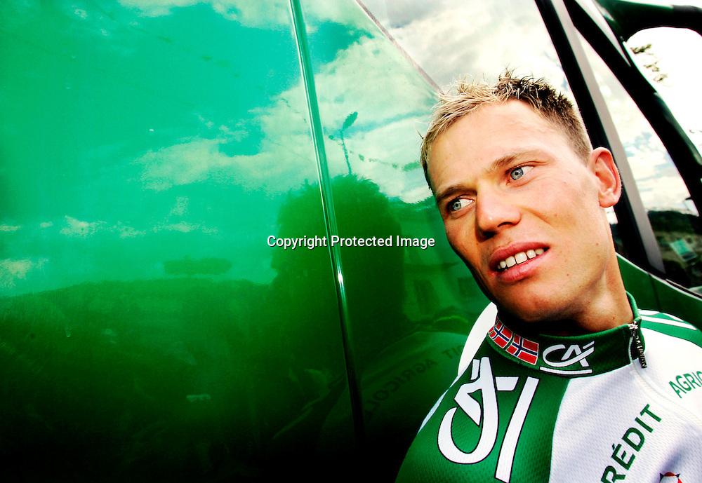Gerardmer, Frankrike 20050709 Tour de France : Thor Hushovd tok ytterligere inn på Tom Boonen i kampen om den grønne trøya på den 8.etappen...Foto: Daniel Sannum Lauten/ Dagbladet *** Local Caption *** Hushovd,Thor