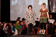 Wearing fashions from Pieces of Style, models Gayle Betley (left) and Charlotte Chumack on the runway during A'Wear Affair, the Noble Circle fundraising fashion show, at Sinclair College's David H. Ponitz Center, Saturday, February 23, 2013.  Betley has been thriving beyond occurences of placental cancer in 1998, colon cancer in 2003 and breast cancer in 2011.  Chumack is thriving beyond a 2012 recurrence of stage 4 breast cancer.