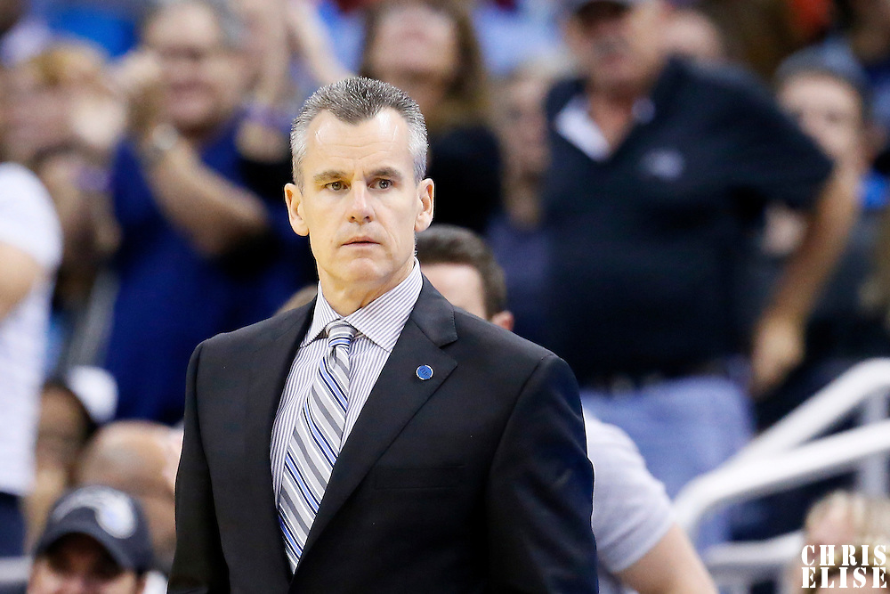 30 October 2015: Oklahoma City Thunder head coach Billy Donovan is seen during the Oklahoma City Thunder 139-136 double overtime victory over the Orlando Magic, at the Amway Center, in Orlando, Florida, USA.