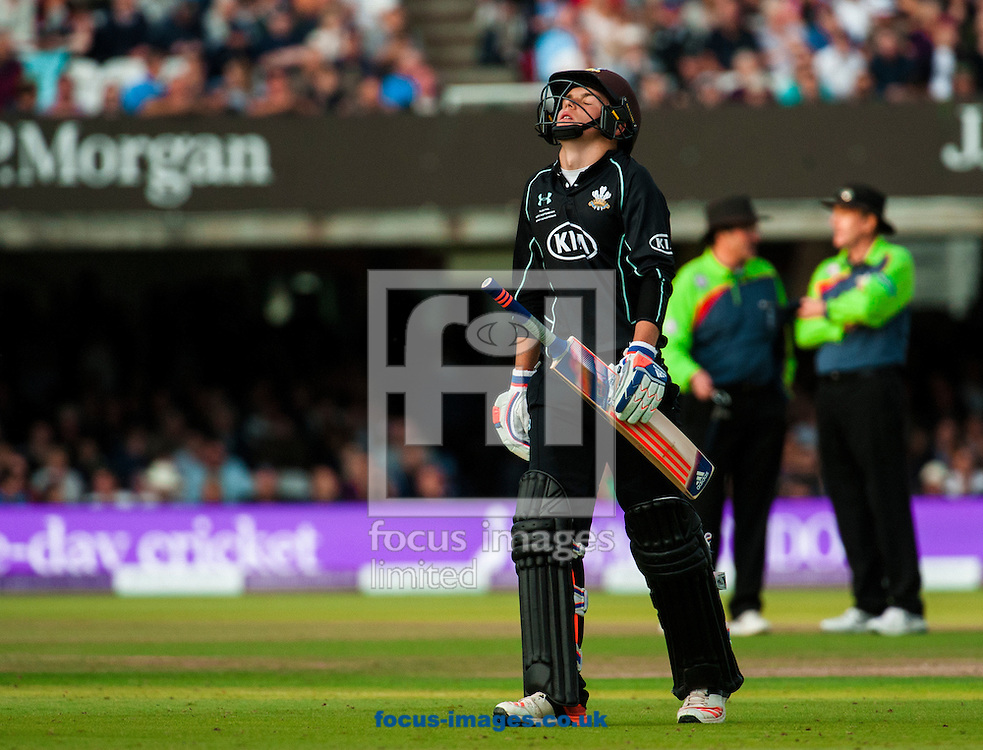 Sam Curran of Surrey CCC is bowled out during Royal London One Day Cup Final match at Lord's, London<br /> Picture by Jack Megaw/Focus Images Ltd +44 7481 764811<br /> 19/09/2015