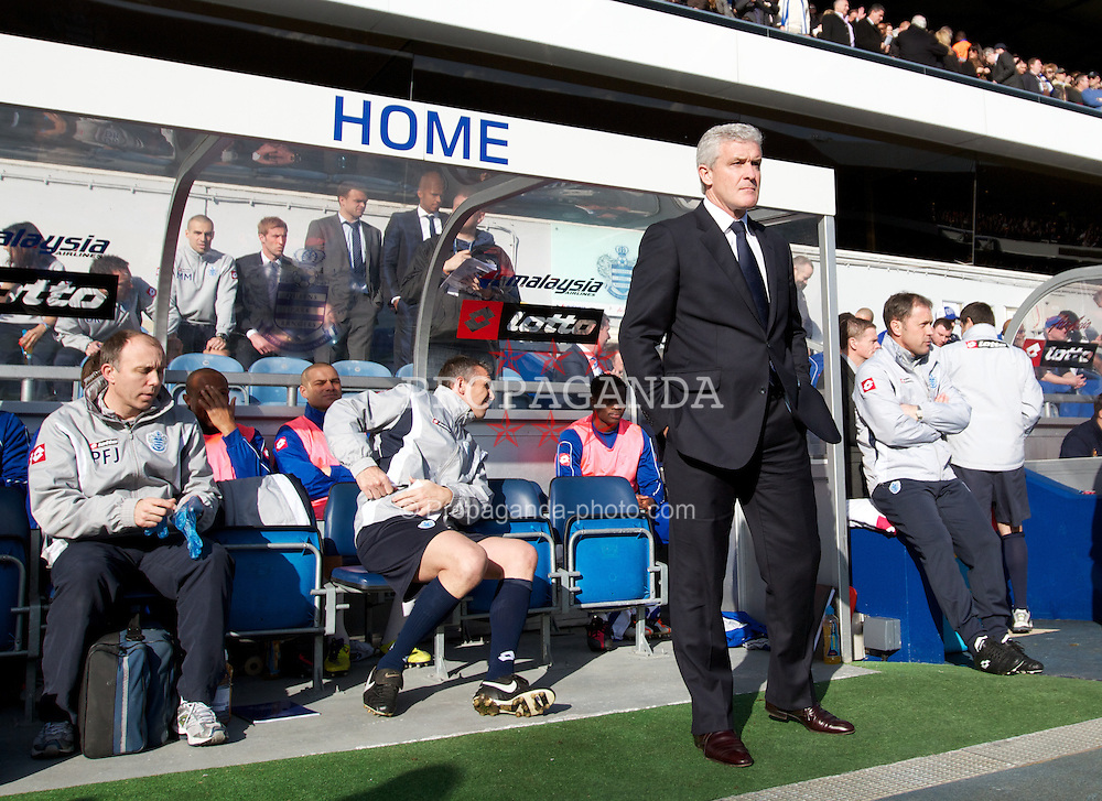 LONDON, ENGLAND - Saturday, March 3, 2012: Queens Park Rangers' manager Mark Hughes before the Premiership match against Everton at Loftus Road. (Pic by Vegard Grott/Propaganda)