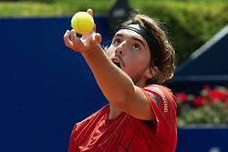 April 28, 2018 - Barcelona, Catalonia, Spain - STEFANOS TSITSIPAS (GRE) serves against Pablo Carreno Busta (ESP) in their semi-final of the 'Barcelona Open Banc Sabadell' 2018. Tsitsipas won 7:5, 6:3 (Credit Image: © Matthias Oesterle via ZUMA Wire)