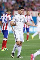 Real Madrid´s James Rodriguez regrets missing a chance during 2014 Supercopa de España `Spain Supercup´ second leg match at Vicente Calderon stadium. August 22, 2014. (ALTERPHOTOS/Victor Blanco)