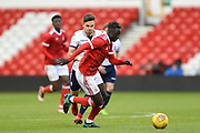 Nottingham Forest U23's Virgil Gomis battles with Bolton's U23 Dennis Politic during the U23 Professional Development League Play-Off Final match between Nottingham Forest and Bolton Wanderers at the City Ground, Nottingham, England on 4 May 2018. Picture by Jon Hobley.