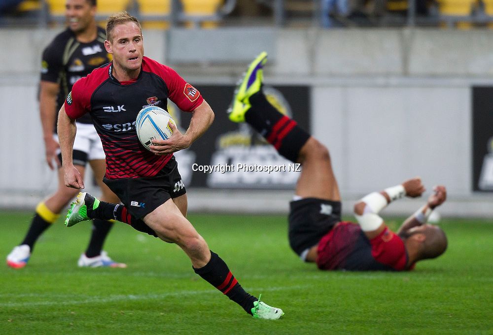 Andy Ellis of Canterbury runs in a try during the ITM Cup Premiership Final rugby match between Wellington and Canterbury at the Westpac Stadium in Wellington on Saturday the 26th of October 2013.  Photo by Marty Melville/Photosport.co.nz