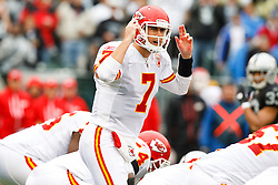 November 7, 2010; Oakland, CA, USA;  Kansas City Chiefs quarterback Matt Cassel (7) calls a play at the line of scrimmage against the Oakland Raiders during the first quarter at Oakland-Alameda County Coliseum. Oakland defeated Kansas City 23-20 in overtime.
