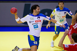 David Spiler of Slovenia during handball match between Slovenia and Croatia in  2nd Round of Preliminary Round of 10th EHF European Handball Championship Serbia 2012, on January 18, 2012 in Millennium Center, Vrsac, Serbia. Croatia defeated Slovenia 31-29. (Photo By Vid Ponikvar / Sportida.com)