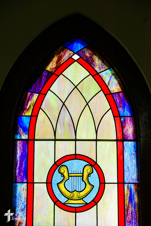 Stained glass depicting music at Zion Evangelical Lutheran Church, Lu Verne, Iowa, on Sunday, July 9, 2017. LCMS Communications/Erik M. Lunsford