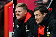 AFC Bournemouth manager Eddie Howe smiling on the bench before the Premier League match between Bournemouth and Tottenham Hotspur at the Vitality Stadium, Bournemouth, England on 11 March 2018. Picture by Graham Hunt.