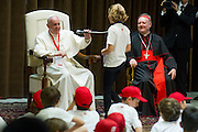 """Vatican City may 28th 2016, pope meets the """" Children's train """". In the picture pope Francis with children"""