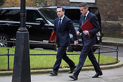 London, UK. 15th January, 2019. Alun Cairns MP, Secretary of State for Wales, and Gavin Williamson MP, Secretary of State for Defence, arrive at 10 Downing Street for a Cabinet meeting on the day of the vote in the House of Commons on Prime Minister Theresa May's proposed final Brexit withdrawal agreement.