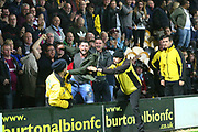 Aston Villa fans go wild after the second goal is scored during the EFL Sky Bet Championship match between Burton Albion and Aston Villa at the Pirelli Stadium, Burton upon Trent, England on 26 September 2017. Photo by John Potts.