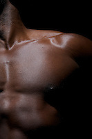 Close up of a worked out torso of an African American Young.