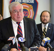 Bucks County District Attorney David Heckler addresses the media during a news conference announcing the arrest of George Shaw and Robert Sanders in the 1984 murder of Barbara Rowan at Bensalem Police Headquarters Friday October 2, 2015 in Bensalem, Pennsylvania.  (Photo By William Thomas Cain)