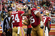 San Francisco 49ers running back Shaun Draughn (24) celebrates a touchdown against the New England Patriots at Levi's Stadium in Santa Clara, Calif., on November 20, 2016. (Stan Olszewski/Special to S.F. Examiner)