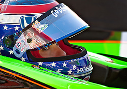 LONG BEACH, CA - APR 15: IndyCar Series driver Danica Patrick waits for IndyCar practice run in her pit. Photo by Eduardo E. Silva