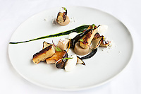Tartufata gnocchi, rosemary puree, and ricotta cannelle with white mushroom. © Allen McEachern