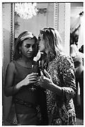 Sahar Hashemi and Hailey Sief. Krug party. Mandarin Oriental Hotel. May 1999. © Copyright Photograph by Dafydd Jones 66 Stockwell Park Rd. London SW9 0DA Tel 020 7733 0108 www.dafjones.com