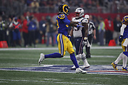 Los Angeles Rams inside linebacker Cory Littleton (58) in action during the NFL Super Bowl 53 football game against the New England Patriots on Sunday, Feb. 3, 2019, in Atlanta. The Patriots defeated the Rams 13-3. (©Paul Anthony Spinelli)