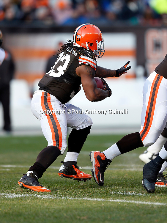 Cleveland Browns running back Trent Richardson (33) runs the ball during the NFL week 12 football game against the Pittsburgh Steelers on Sunday, Nov. 25, 2012 in Cleveland. The Browns won the game 20-14. ©Paul Anthony Spinelli