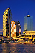 Image of the Tampa skyline and Hillsborough River, Tampa, Florida, American Southeast