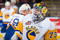 KELOWNA, BC - DECEMBER 01:  Nolan Maier #73 of the Saskatoon Blades skates during warm-up against the Kelowna Rockets at Prospera Place on December 1, 2018 in Kelowna, Canada. (Photo by Marissa Baecker/Getty Images)