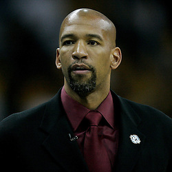 April 22, 2011; New Orleans, LA, USA; New Orleans Hornets head coach Monty Williams against the Los Angeles Lakers during the first half in game three of the first round of the 2011 NBA playoffs at the New Orleans Arena. The Lakers defeated the Hornets 100-86.   Mandatory Credit: Derick E. Hingle