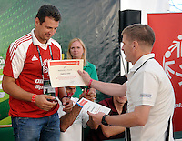 (L) Vladimir Grbic of Serbia and (R) Krzysztof Krukowski from SOEE during press conference of Special Olympics during Day 6 of the FIVB World Championships on July 6, 2013 in Stare Jablonki, Poland. <br /> <br /> Poland, Stare Jablonki, July 06, 2013<br /> <br /> Picture also available in RAW (NEF) or TIFF format on special request.<br /> <br /> For editorial use only. Any commercial or promotional use requires permission.<br /> <br /> Mandatory credit:<br /> Photo by &copy; Adam Nurkiewicz / Mediasport