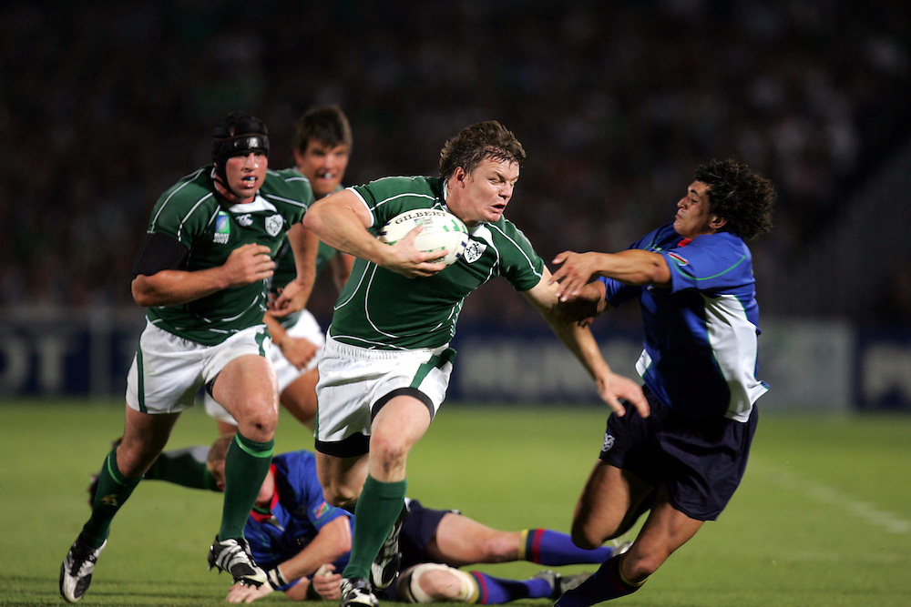 Brian O'Driscoll during the rugby union World Cup match Ireland vs Namibia, 09 September 2007 at the Chaban-Delmas stadium in Bordeaux, southwestern France.