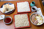 Two types of soba noodles, tempura made with prawns, shiitake mushrooms and green chili and a soba noodle soup with duck. The Sarashina Horii Restaurant. Tokyo, Japan.