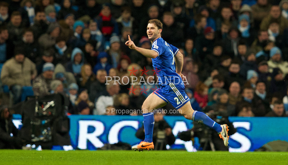 MANCHESTER, ENGLAND - Monday, February 3, 2014: Chelsea's Branislav Ivanovic celebrates scoring the first goal against Manchester City during the Premiership match at the City of Manchester Stadium. (Pic by David Rawcliffe/Propaganda)