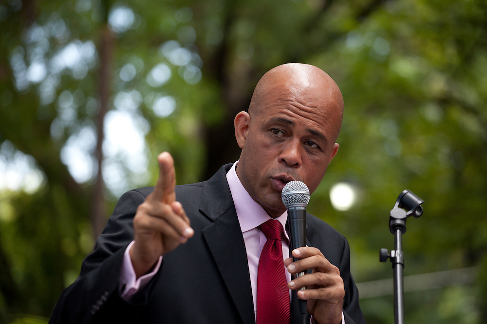 """Haitian singer and presidential candidate Michel Martelly also known as """"Sweet Mickey"""" holds a press conference two days before the presidential election."""