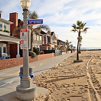 Photo of Newport Balboa Bike Trail at 11th Street on Balboa Peninsula in Newport Beach California. Newport Beach is a beach community along the Pacific Ocean in Orange County Southern California.