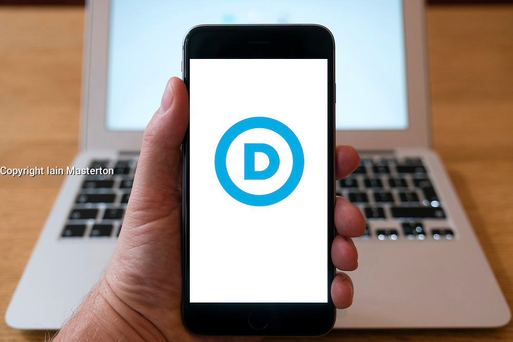 US Democratic Party logo on smart phone screen.