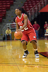 20 November 2010: Jazmine Hill during an NCAA Womens basketball game between the Southern Illinois-Edwardsville Cougars and the Illinois State Redbirds at Redbird Arena in Normal Illinois.