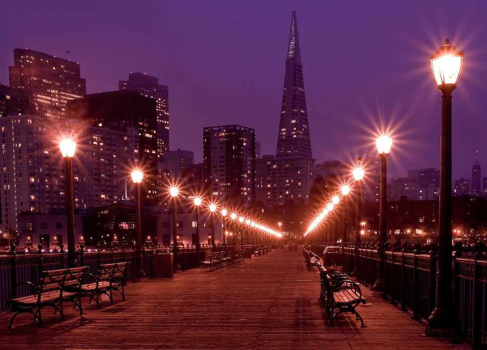 san francisco at night taken from pier 7 looling toward the famous transamerica pyramid