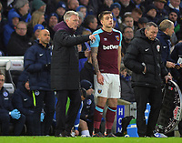 Football - 2017 / 2018 Premier League - Brighton & Hove Albion vs. West Ham United<br /> <br /> New West ham signing,Jordan Hugill comes on to make his West ham debut with a few words from Manager David Moyes at The Amex.<br /> <br /> COLORSPORT/ANDREW COWIE