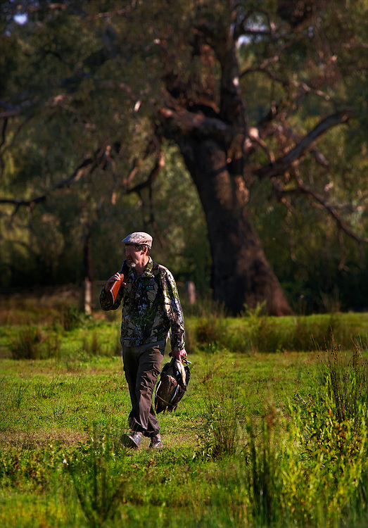 Collin Wood shot six ducks. Duck hunting season opens near Howlong on the Murray River. Pic By Craig Sillitoe CSZ/The Sunday Age 10/3/2011 melbourne photographers, commercial photographers, industrial photographers, corporate photographer, architectural photographers, This photograph can be used for non commercial uses with attribution. Credit: Craig Sillitoe Photography / http://www.csillitoe.com<br />