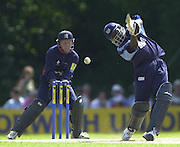 .14/07/2002 - Sport - Cricket- Norwich Union League..Middlesex Crusaders vs Gloucester Gladiators.Mark Alleyne striking a ball from the bowling of james Dalrymple.